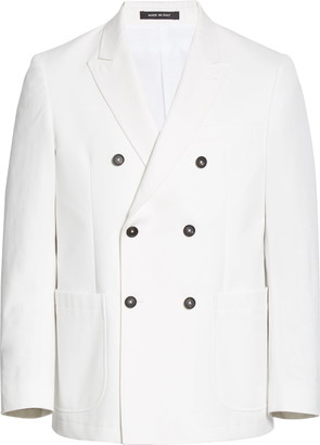 Noah Double Breasted White Cotton Sport Coat