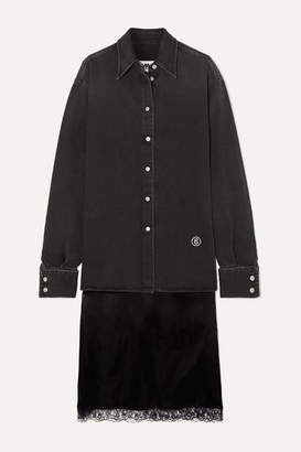 MM6 MAISON MARGIELA Embroidered Denim And Lace-trimmed Satin Shirt And Skirt Set - Black