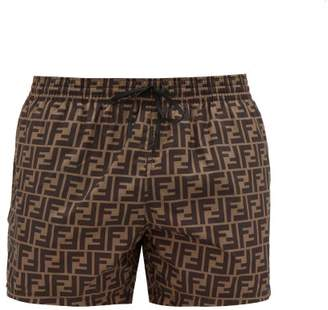 Fendi Ff-printed Swim Shorts - Mens - Brown Multi