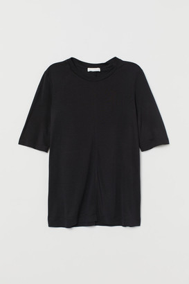H&M Silk Jersey T-shirt - Black