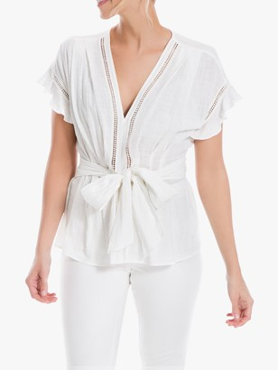 Max Studio Frill Sleeve Textured Top, White