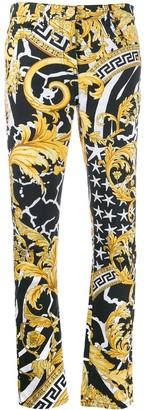 Versace Savage Baroque print slim-fit jeans