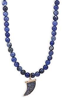 Sydney Evan Men's 14K Rose Gold & Sapphire Bead Pavé Horn Pendant Necklace