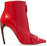 Alexander McQueen Buckled Leather Ankle Boots - Red