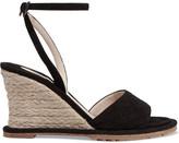 Bottega Veneta Intrecciato Suede Espadrille Wedge Sandals - Black