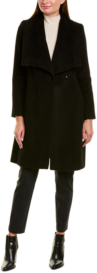 Women Wool Trench Coat Women Wool Coat Bow Tie Coat Front Bow Black Coat Black Wool Trench Black Bow Tie Coat Virgin Wool Bow Tie Coat