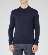 Reiss Reiss Mansion - Merino Polo Shirt In Blue