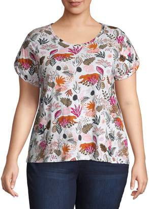 Lord & Taylor Plus Floral Cotton Tee