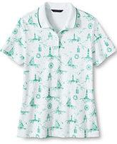 Classic Women's Petite Pima Polo Shirt-White/Indian Emerald Nautical