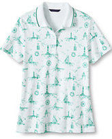 Lands' End Women's Petite Pima Polo Shirt-White/Indian Emerald Nautical