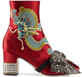 Gucci Dragon satin mid-heel ankle boot