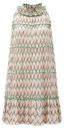 Missoni Chevron-stripe Lace-knitted Mini Dress - Pink