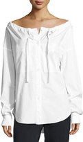 Theory Magena Off-the-Shoulder Poplin Shirt, White