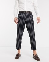 Harry Brown slim fit pleated crop stripe trouser