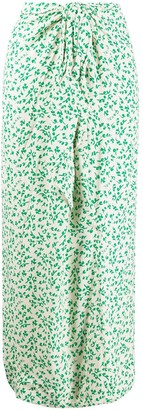 Ganni Long Floral Print Skirt