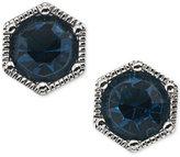 Lauren Ralph Lauren Silver-Tone Blue Crystal Stud Earrings