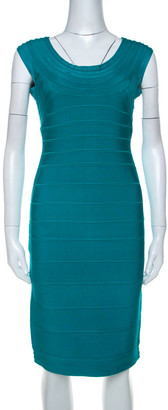 Herve Leger Teal Green Scoop Neck Bandage Dress M
