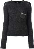 Class Roberto Cavalli embellished pocket sweater - women - Polyamide/Spandex/Elastane/Mohair/Virgin Wool - 48
