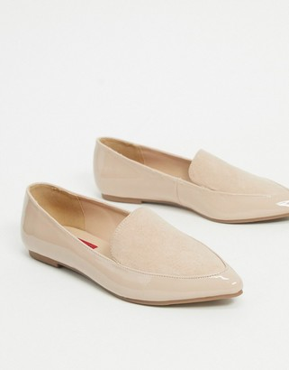 London Rebel pointed flat loafers in beige mix