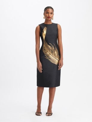 Oscar de la Renta Silk Lurex Feather Midi Dress