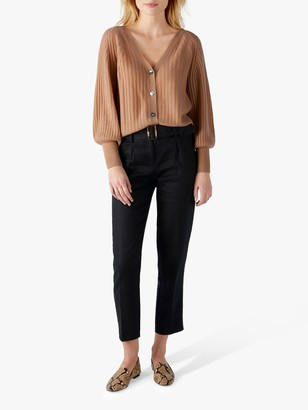Pure Collection Linen Belted Skinny Trousers