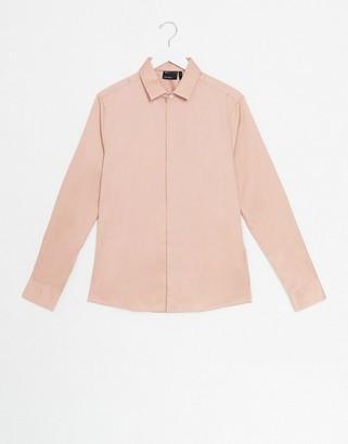 ASOS DESIGN wedding skinny sateen shirt in pink