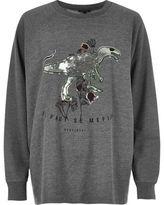 River Island Womens Plus grey sequin dinosaur sweatshirt