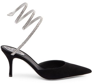 Rene Caovilla Cleo Ankle-Wrap Crystal-Embellished Leather & Satin Pumps