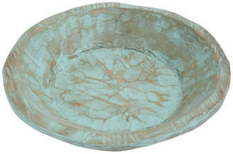 My Amigos Imports Painted Round Rustic Wooden Dough Bowl, Pure White, Round