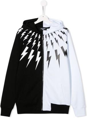 Neil Barrett Kids TEEN lightning colour block hoodie