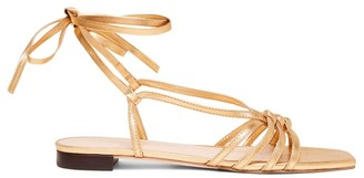 Loeffler Randall Lorelai Flat Ankle-Wrap Metallic Leather Sandals