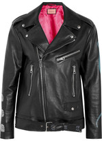 Gucci Painted Textured-leather Biker Jacket