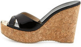 Jimmy Choo Perfume Cork Wedge Slide, Black
