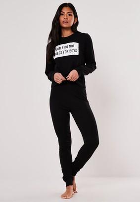 Missguided Black Slogan Girls Pyjama Set