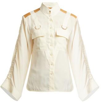 Chloé Mandarin-collar Patch-pocket Blouse - Womens - Cream