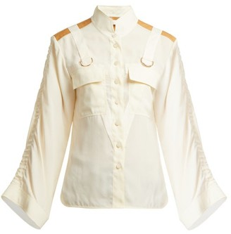 Chloé Mandarin-collar Patch-pocket Blouse - Cream