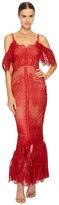 Marchesa Off the Shoulder Giupure Tea Length Gown Women's Dress