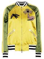 Valentino Appliqué silk satin bomber jacket