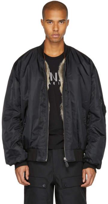 Yves Salomon Black Fur-Lined Bomber Jacket
