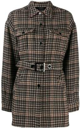 Pinko check print belted jacket