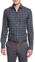 Ermenegildo Zegna Grid Plaid Long-Sleeve Sport Shirt, Navy