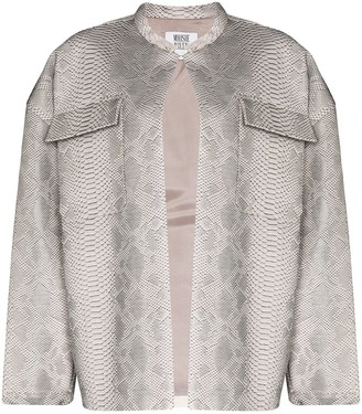 MAISIE WILEN Oversized Snake-Print Leather Jacket