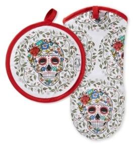 Fiesta Skull & Vine Oven Mitt & Pot Holder, Set of 2