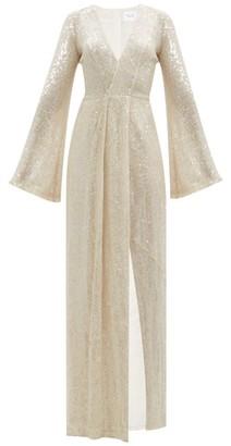 Galvan St Moritz Sequinned Side-slit Gown - Womens - White