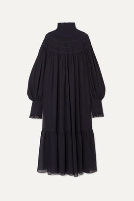 Chloé Oversized Ribbed Wool And Pleated Silk-chiffon Maxi Dress - Navy