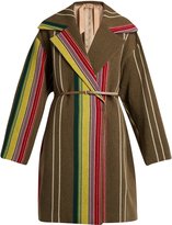 No.21 NO. 21 Striped oversized wool-blend coat