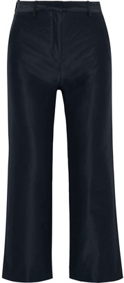 Mansur Gavriel Cropped Cotton And Silk-blend Taffeta Straight-leg Pants
