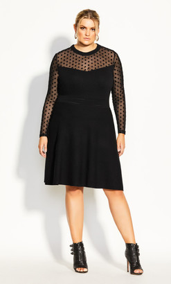 City Chic Spot Sweater Dress - black