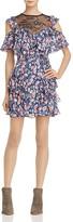 Rebecca Taylor Cold-Shoulder Floral Silk Dress