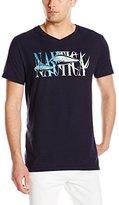 Nautica Men's Fish Graphic V-Neck T-Shirt